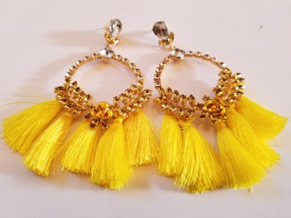 Yellow Fringed Hoop Earrings
