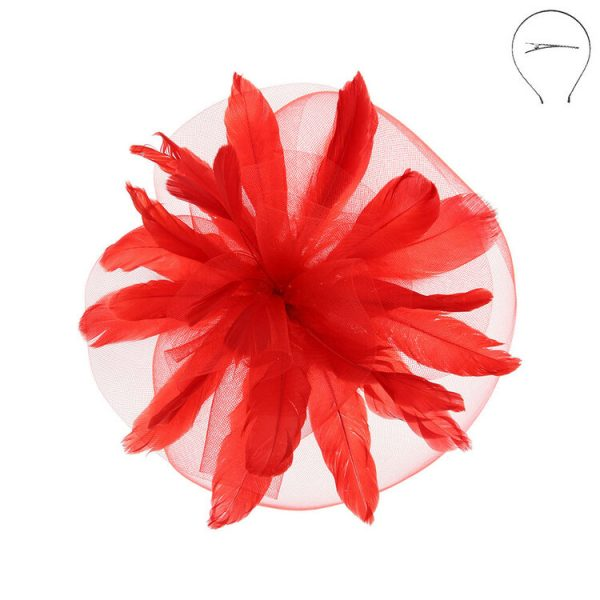 Double Mesh Fascinator Headband Red