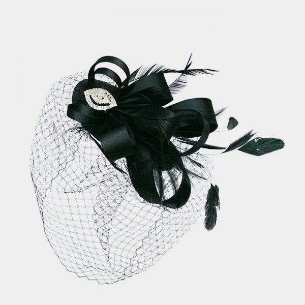 Black Satin Loopy Bow