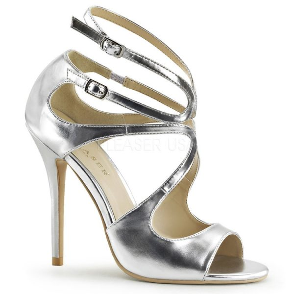 Silver Metallic Strappy Sandals with Cut Outs