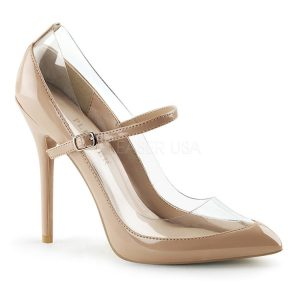 Nude and Clear Pump with Straps