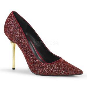 Metal Stiletto Heel Burgundy Glitter Pumps