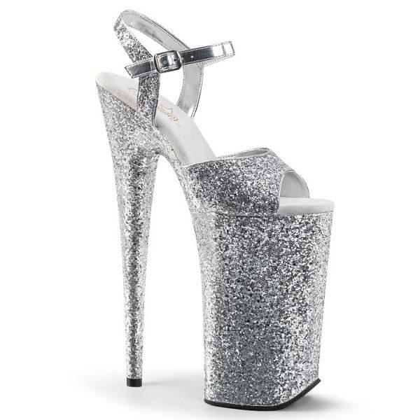 "10 "" Heel Platform Glitter Sandals"