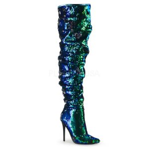 Green Iridescent Sequin Over the Knee Boots