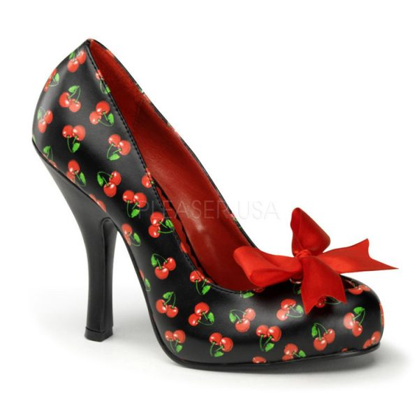 Black/Red PU Cherries Print Heel Pumps