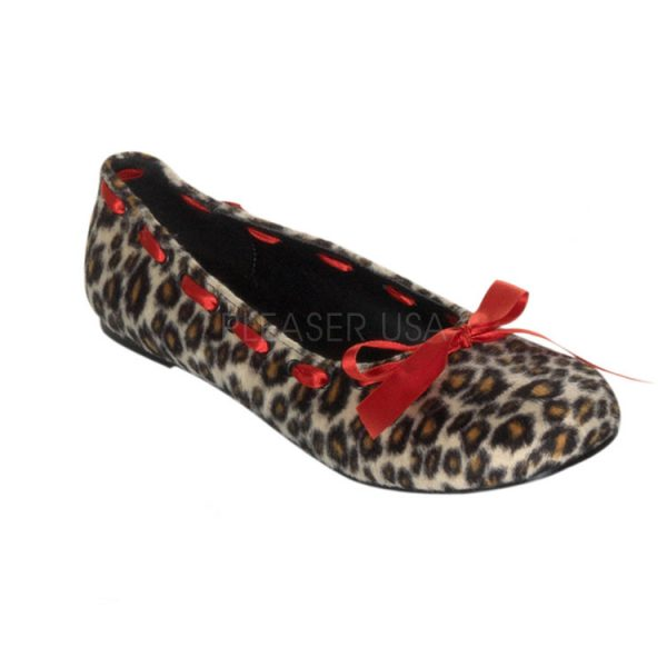 Punk Rockabilly Ballet Flats with Cheetah Fur with Ribbons