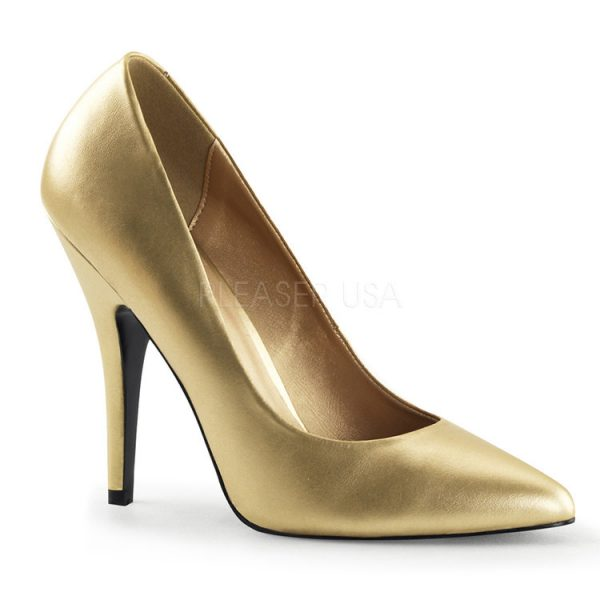 Gold Faux Leather PU 5″ Heel Pumps