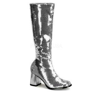 Block Heel Silver Sequin Boots