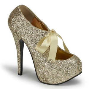Gold Glitter Platform Pumps