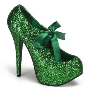 Green Glitter Platform Pumps