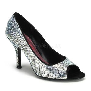 Irridescent Rhinestone Encrusted Open Toe Pump